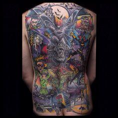 Bat man back piece. (Artist - Evan Nichols)Submit Your Tattoo Here: Tattoos.org