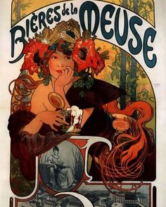 Beers of the Meuse Ad by Alphonse Mucha-- 1898