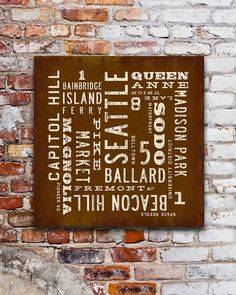 Seattle Neighborhood sign. SEATTLE Sign Rustic Seattle Poster City Art Print by Transit Design. Featuring word art of Seattle Neighborhoods.