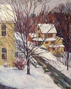 Original Landscape Painting Snow Houses Berkshires. 16x20 on