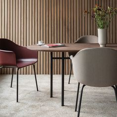 """Harbour Chair, Black Steel Legs, Nevotex """"Dakar"""" Cognac For Sale at Dark Interiors, Rustic Interiors, Scandinavian Furniture, Contemporary Furniture, Dining Chairs, Dining Table, Dining Room, Oval Table, Muuto"""