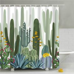 Cactus Shower Curtain, Tropical Shower Curtains, Cheap Shower Curtains, Bathroom Shower Curtains, Fabric Shower Curtains, Colorful Shower Curtain, Bathroom Bath, Bathroom Plants, Bathtub Shower