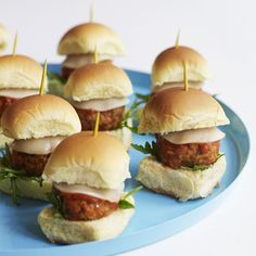 Meatballs are used to create these fun Italian-style mini-sliders. This recipe yields a big batch of appetizers to satisfy a hungry crowd.  Recipe: Meatball Sliders Related: Meatballs, Burgers, and Chili, Oh My! Great Ground Meat Recipes   - Delish.com