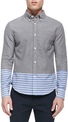 Band of Outsiders Striped-Bottom Button-Down Shirt, Gray Multi