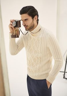 Cable Knit Sweaters, Cashmere, Men Sweater, Turtle Neck, Loose Fit, How To Wear, Collections, Classic, Dresses