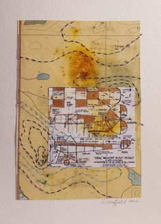 Homebuilt 1 Mixed media collage: found papers, map, cotton thread, gouache Mixed Media Collage, Cotton Thread, Gouache, Aviation, Map, Air Ride, Location Map, Peta, Maps