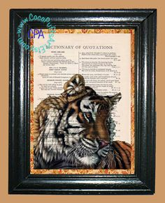 Colored Bengal Tiger - - Vintage Dictionary Book Page Art-Upcycled Page Art,Wall Art,Collage Art, Royal Tiger, Wildlife Print by CocoPuffsArt on Etsy
