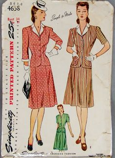 1940s Vintage Simplicity 4658 Six Gore Skirt Fitted by knightcloth, $11.95