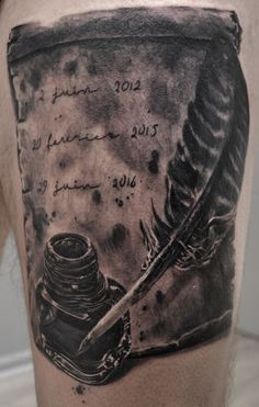 tatouage plume encrier parchemin par stephane bueno tatoueur studio black corner tattoo valence #tattoo #tattoos #tattooed #tattooart #tattooartist #tattooing #tattooshop #ink #inks #inked #inkart #art #artist #artwork #inkjet #plume #encrier #parchemin #realistic #realism #stephanebueno #blackcornertattoo #inkinspiration #idea