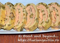 Ruladă de omletă cu cremă de brânză și somon Starters, Baked Potato, Zucchini, Special Occasion, Appetizers, Potatoes, Meals, Baking, Vegetables