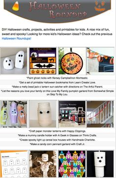 16 free diy Halloween craft tutorials, diy projects, crafty recipes and printables for kids! A nice mix of fun, sweet and spooky.