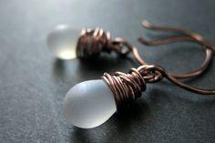 COPPER Earrings - Frost Teardrop Earrings in Copper Dangle Earrings Wire Wrapped. Handmade Jewelry. by TheTeardropShop from The Teardrop Shop. Find it now at http://ift.tt/1fnUKyX!