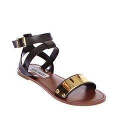 BACKUP BLACK MULTI women's sandal flat ankle strap - Steve Madden