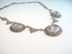 Art Deco Marcasite Necklace Amethyst Gemstones by bohemiantrading, $285.00