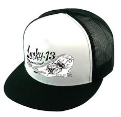 c9206fdba721c Details about Lucky 13 snapback Hat Trucker Cap PIN FLY Hot Rod Pinstriping  Two Tone