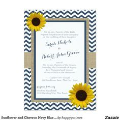 Sunflower and Chevron Navy Blue Rustic Wedding