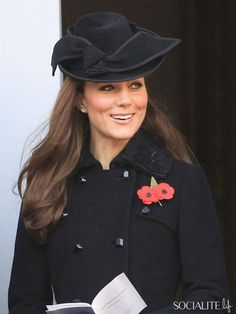 Catherine Duchess Cambridge Remembrance Day Black Jacket Fascinator 2011