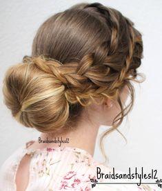 Beautiful Braided Bun Updo by Braidsandstyles12 . Holiday Hair, Holiday Updo, Bridal, Bridal Updo, Updo, Hairstyles, Braids, Bun, Braids