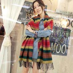 Long Corean Stripe Blue Wool Scarves