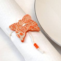 Napkin Ring Set  6 Ceramic Orange Butterfly Napkin by StudioDhouse, $39.00