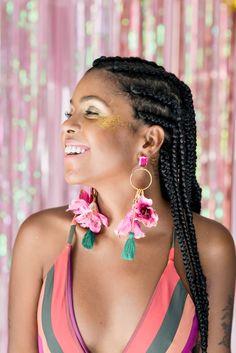 Bridal Earrings, Flower Earrings, Diy Fashion, Fashion Jewelry, Fashion Beauty, Makeup Carnaval, Neon Accessories, Wire Jewelry Rings, Diy Clay Earrings