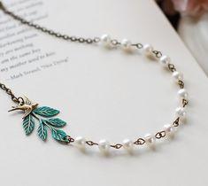 Swallow Bird Leaf Pearl Necklace. Verdigris Patina Brass Leaf Branch Brass Swallow Bird Swarovski Cream Pearls, Bridal Necklace Woodland