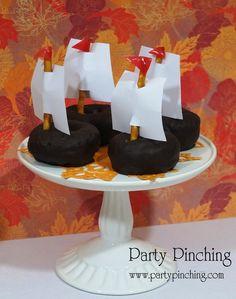 Donut Mayflowers for Thanksgiving #donut #mayflower