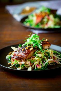 Hot and spicy slaw and salmon