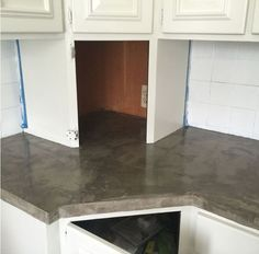 changing up an orange formica countertop with concrete, concrete masonry, countertops, kitchen design