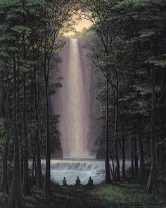 Tomás Sánchez (Cuban, b. 1948), Contempladores de cascadas, 1992. Acrylic on canvas, 76.5 x 61.3 cm.