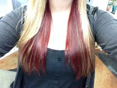 My blonde hair with dark red underneath