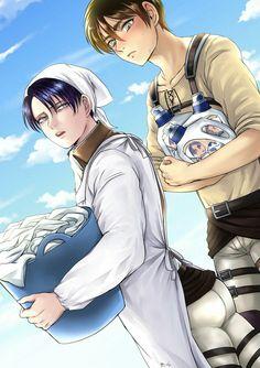Levi and Eren Eren E Levi, Levi And Erwin, Attack On Titan Ships, Attack On Titan Levi, Levi Ackerman, Ereri, Otaku Anime, Anime Art, Levi Squad