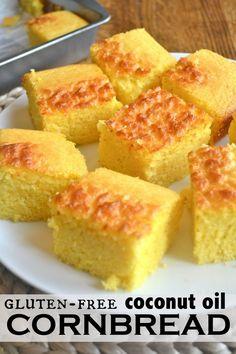 I LOVE this recipe for Gluten Free Cornbread with secret ingredients coconut oil & Greek Yogs!! YUMMO!!