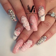 Pink coffin nails with 3d flowers and bling