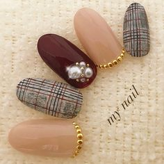 Kawaii Nail Art, Cute Nail Art, Cute Nails, Asian Nails, Korean Nails, Self Nail, Grey Nail Designs, Vintage Nails, Plaid Nails