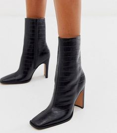 Browse online for the newest ASOS DESIGN Evolution leather high ankle boots in black croc styles. Shop easier with ASOS' multiple payments and return options (Ts&Cs apply). High Ankle Boots, Leather Ankle Boots, High Heels, Shoes Heels, Flat Boots, Heel Boots, Women's Boots, Cowboy Boots, Riding Boots