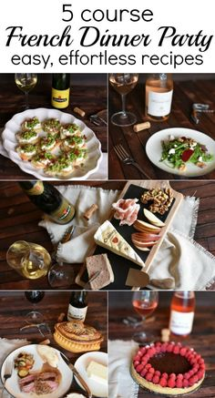 Host an easy and almost effortless 5 course french meal - a complete menu with wine pairings for each course! easy, quick recipes  via @GingeredWhisk