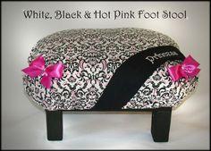 Damask Hot pink Black white Princess Bedroom Foot Stool Tuffet. $28.99, via Etsy.