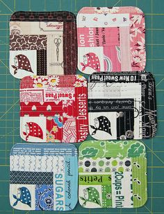 Kerchief Girls coasters by elnorac. Perfect fabric/colour combinations.