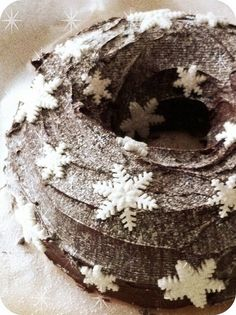 I don't often see a chocolate cake dusted with confectioner's sugar. I like it. That and the sugar snowflakes make it very festive for winter holidays.