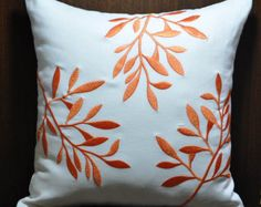 couch pillows 155303887139998222 - Orange White Decorative Pillow Cover, White Linen Pillow Orange Leaves, Embroidered Couch Pillow, Le Source by etsy Floral Pillows, Diy Pillows, Linen Pillows, Couch Pillows, Linen Fabric, Glider Cushions, Blue Cushions, Floor Cushions, Cheap Decorative Pillows