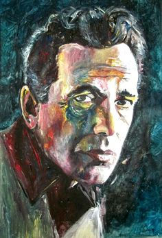 """Bogey"" Humphrey Bogart - mixed media - 28x40 inches - Original art by Marcelo Neira"