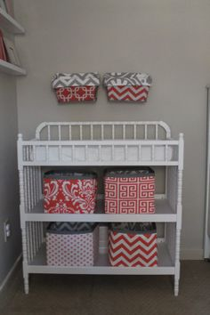 Magnolia Mommy Made: Coral and Gray Nursery Reveal!  Jenny Lind Changing Table with DIY fabric storage bins.