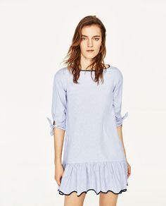 814619e1e6ab Image 2 of STRIPED DRESS from Zara Straight Dress, Half Sleeves, Blue  Stripes,