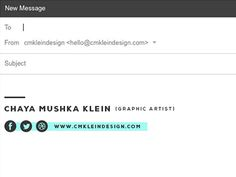 Email Signature by Chaya M Kanner Creative Email Signatures, Layout, Email Design, Letterhead, Signature Design, Logo Branding, Memes, Digital Marketing, Graphic Design