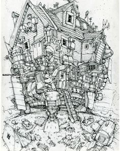 The Flying house.Landed.Author Aleksey Lubimov.A sketch from my series about the City in the Clouds. #алексейлюбимовбиомеханика #алексейлюбимов #стимпанк #дизельпанк #биомеханика #marchofrobots #steampunk #dieselpunk #alekseylubimov_art #biomechanical #lineart