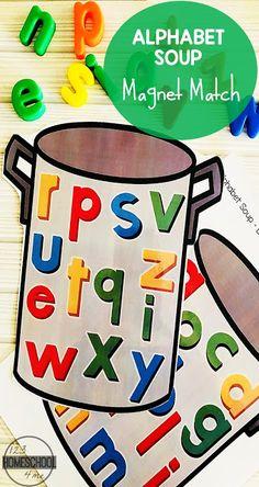 FREE Alphabet Soup Magnet Match Activity FREE Alphabet Soup – alphabet magnet abc matching activity for preschool, kindergarten, and first grade kids Alphabet Magnets, Alphabet Crafts, Alphabet Soup, Printable Alphabet, Free Printable, Abc Soup, Abc Centers, Literacy Centers, Teaching The Alphabet