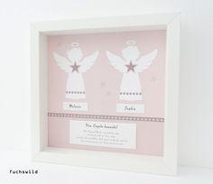 Schutzengel Bild Kunstdruck Engelsform Zwillinge rosa 1, Geschenk Zwillinge, Geschenk Zwillinge Mädchen, Geschenk Zwillinge Taufe