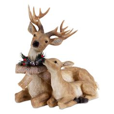 Shop for Sitting Deer and Fawn with Snow Flocked Burlap Bow Christmas Decoration - brown. Get free delivery On EVERYTHING* Overstock - Your Online Christmas Store! Christmas Moose, Christmas Deals, Christmas Holiday, Christmas Animals, Holiday Ideas, Snow Flock, Burlap Bows, Reno, Joss And Main