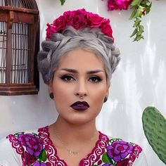 Floral Crown, Dark Make up, Dark Lips, Fuschia, Flowers, Frida Kahlo-esque, Silver Grey Hair, Braid, Crown, Mexican, Perf.
